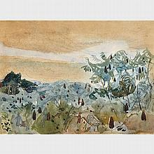 FREDERICK HORSMAN VARLEY, A.R.C.A., SUMACH - MORNING MIST OVER THE CREDIT VALLEY, watercolour, 9.5 ins x 13 ins; 24.1 cms x 33 cms