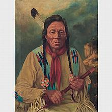 FATHER HENRY METZGER, ROCK THUNDER, CREE MEDICINE MAN, oil on canvas, 24 ins x 18 ins; 45.7 cms x 61 cms