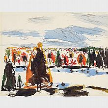 DAVID BROWN MILNE, MORNING ON THE RIVER (NORTH OF COBOCONK), watercolour, sheet 10.75 ins x 14.5 ins; 52.7 cms x 36.8 cms