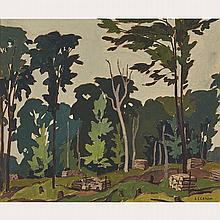 ALFRED JOSEPH CASSON, O.S.A., P.R.C.A., WOODLOT - 12 MILE LAKE, HALIBURTON, 1936, oil on board, 9.25 ins x 11.25 ins; 23.5 cms x 28.6 cms