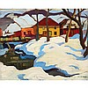 KATHLEEN FRANCES DALY PEPPER, O.S.A., R.C.A., SNOWDRIFTS ON THE RIVERBANK, oil on panel, 10.25 ins x 12.5 ins; 26 cms x 31.8 cms, Kathleen Daly, Click for value
