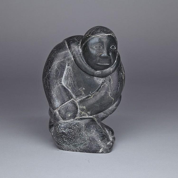 MARKUSI NUNGAQ KUANANA (1932-), KNEELING MAN, stone, 8.25