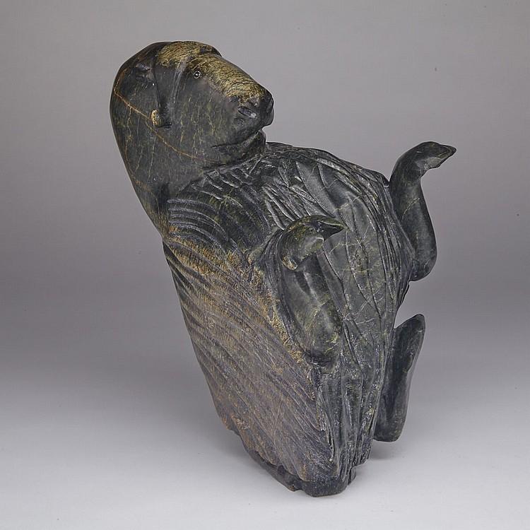 PITSIULA QIMIRPIK (1967-), DANCING MUSK OX, stone, 11.5