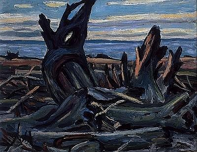 JACK BEDER DRIFTWOOD, N.B. (SALMON BEACH), 1951, oil on board, signed 10.5 ins x 13.75 ins; 26.3 cms x 34.4 cms