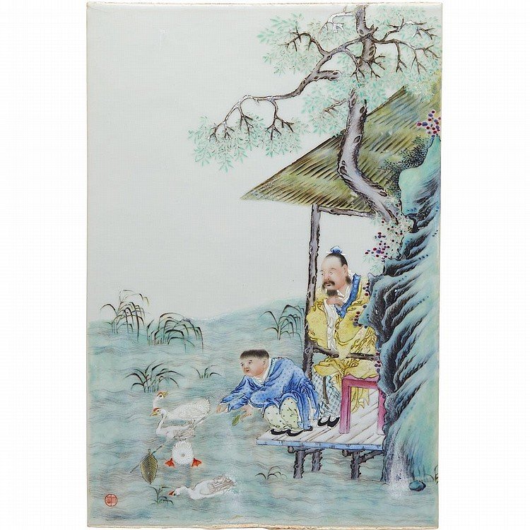 Attributed to Wang dafan (1888-1961), FAMILLE ROSE FIGURAL PANEL