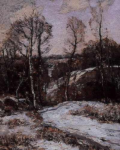 WILLIAM EDWIN ATKINSON, O.S.A., A.R.C.A. SPRING THAW, oil on canvas, signed and dated 1916 20 ins x 16 ins; 50 cms x 40 cms Provenance: The Collector's Gallery, Calgary