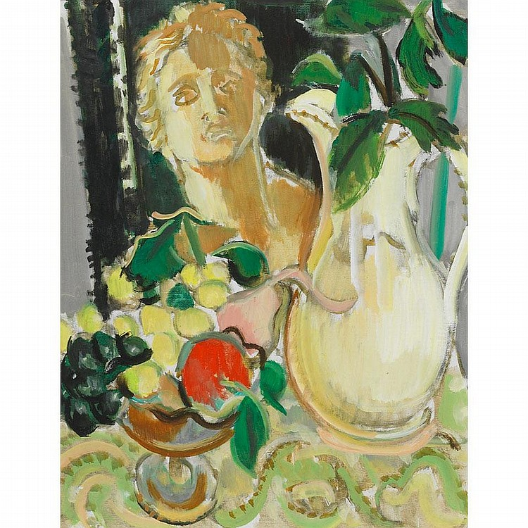 WILLIAM WALTON ARMSTRONG PITCHER AND FRUIT, oil on