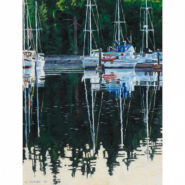 RON PARKER COAL HARBOUR, oil on canvas; signed and