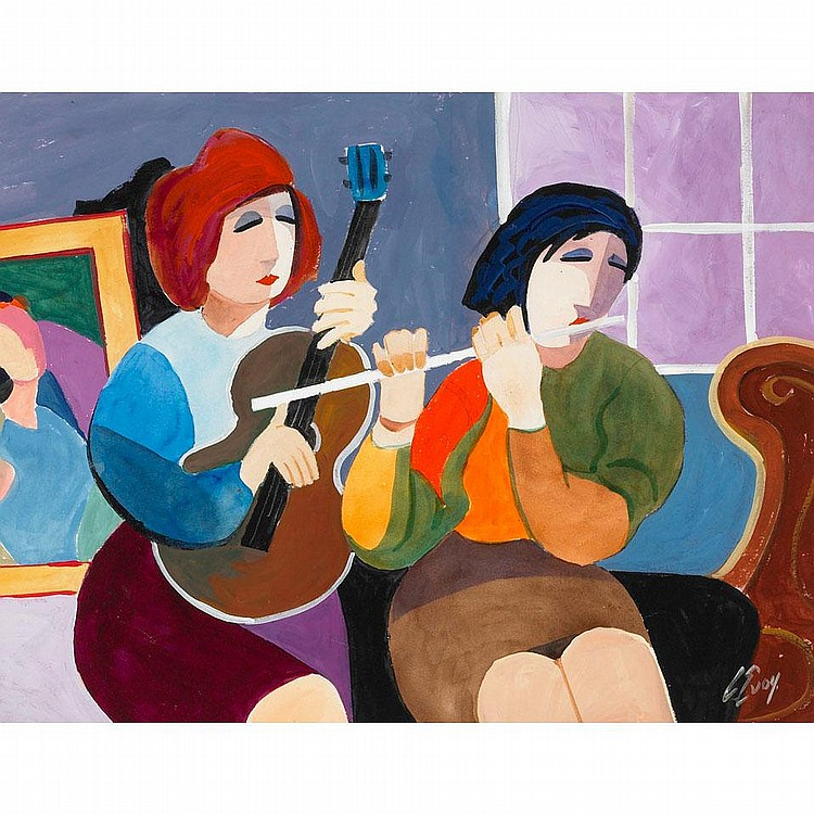 ARTHUR EVOY MUSICIANS, mixed media on paper;