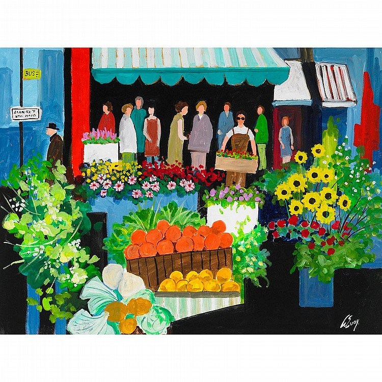 ARTHUR EVOY THE FLOWER MARKET, oil on canvas;