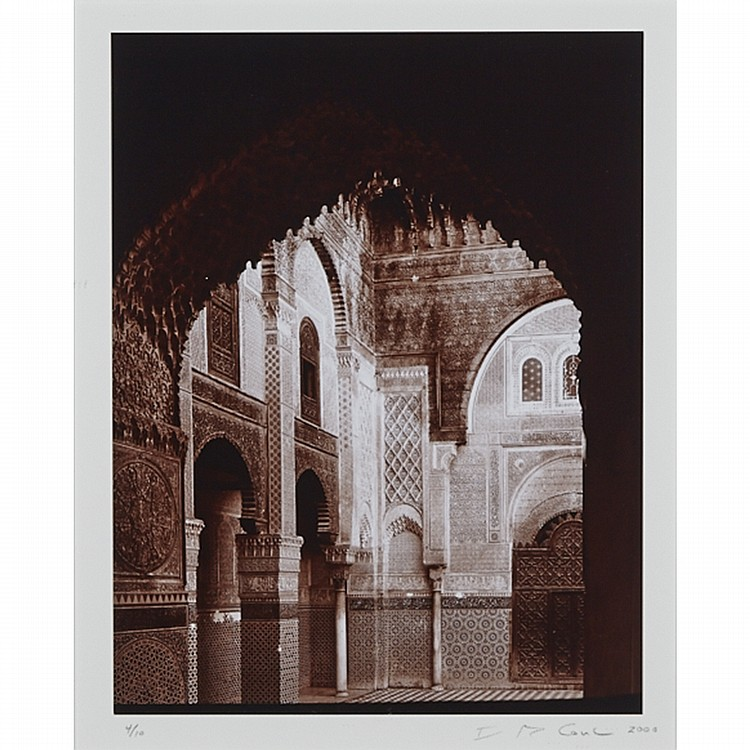 David R. Cowles (1950- ), MOROCCAN INTERIOR WITH BOXING RING; COURTYARD OF THE ATTARINE MEDERSA (12994); GLAOUI KASBAH, WINDOW #2 (12430), Three gold toned gelatin chloride prints; the first title, signed, dated 2000 and numbered APII in pencil to