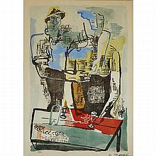 Ossip Zadkine (1890-1967), FETE PAYSANNE, 1960, Colour lithograph on Arches paper; signed and numbered 25/110 in pencil to margin. Printed and published by L'Oeuvre Gravee, Paris., Image 24.5