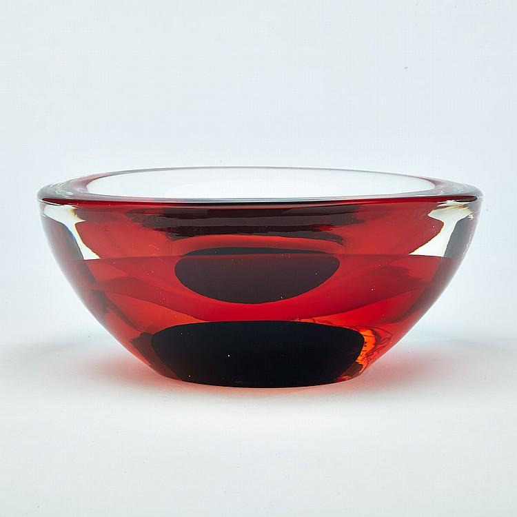 Luigi Onesto (Italian, b.1935) for Oggetti, Sommerso Glass Oval Bowl, c.2000, length 9.4
