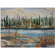 ARTHUR GEORGE LLOY (CANADIAN, 1929-1986), UNTITLED (FALL RIVER STUDY), OIL ON MASONITE; SIGNED AND DATED '61 LOWER LEFT; DATED OCT. 1961 VERSO - UNFRAMED, 5.8 x 8 in — 14.7 x 20.3 cm