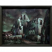 KENNETH (KEN) SEAGER (CANADIAN, 1927-), UNTITLED (RUINS), OIL ON BOARD; SIGNED LOWER LEFT, 32 x 41 in — 81.3 x 104.1 cm