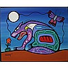 MARK ANTHONY JACOBSON (NATIVE CANADIAN, 1972-), THE PATH OF SPIRIT AND BEAUTY WITHIN, ACRYLIC ON CANVAS; SIGNED AND DATED 2001 LOWER LEFT; SIGNED, TITLED AND DATED 2001 VERSO - UNFRAMED, 16