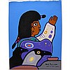 DAVID MORRISSEAU (NATIVE CANADIAN, 1961-), SHAMAN BEING GRATEFUL, ACYRLIC ON PAPER; SIGNED AND DATED 2001 LOWER RIGHT; SIGNED, TITLED AND DATED  VERSO  - UNFRAMED, 10.3