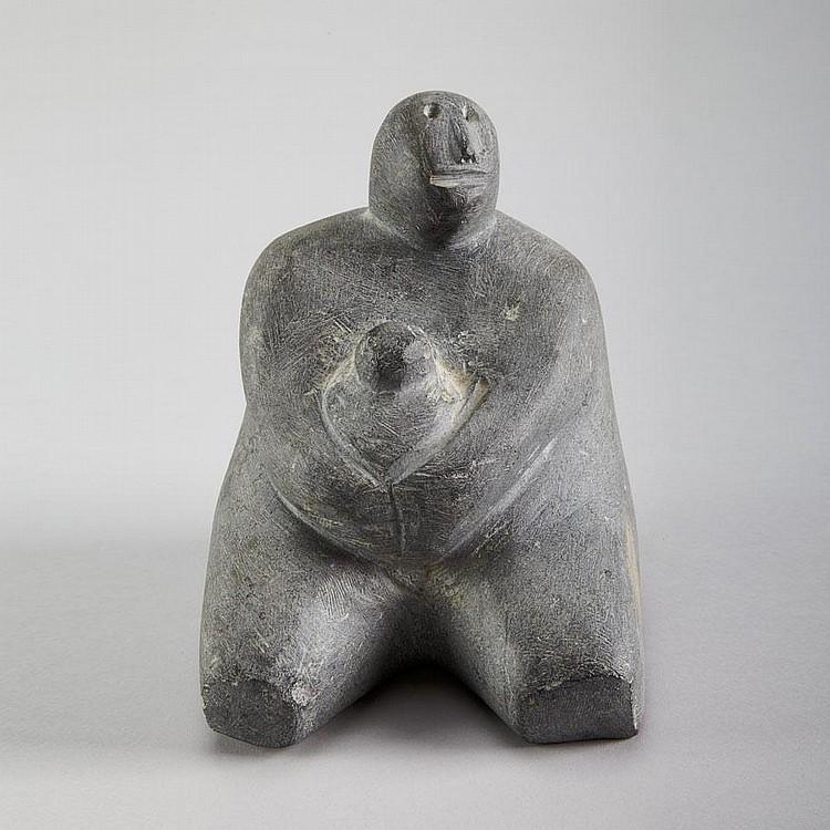 MARC ALIKASWA (1928-), E1-121, ArviatFAMILY, stone, signed in syllabics, 7