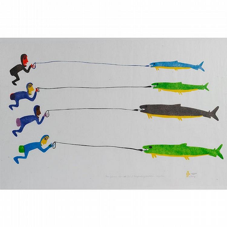 LUKE ANGUHADLUQ (1895-1982), E2-294, Baker LakeFOUR FISHERMEN, stencil, 1980, A/P, unframed, 19