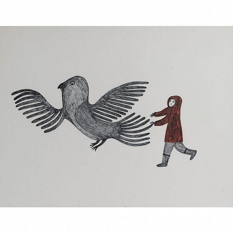 LUCY QINNUAYUAK (1915-1982), E7-1068, Cape DorsetUNTITLED (BOY CHASING BIRD), felt-tip drawing, signed in syllabics, unframed, 26