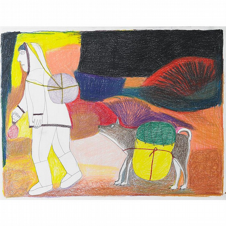 JANET KIGUSIUQ (1926-2005), E2-71, Baker LakeUNTITLED (MAN AND DOG), coloured pencil drawing, signed in syllabics, unframed, 18