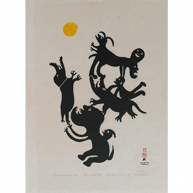 ANGOTIGOLU TEEVEE (1910-1967), E7-978, Cape DorsetSPIRITS REACHING FOR MOON, stonecut, 1961, 47/50, unframed, 18