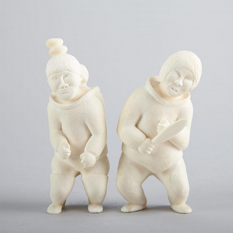 CECILIE KLEIST (1949-), GreenlandA COUPLE, ivory, signed in Roman, 4