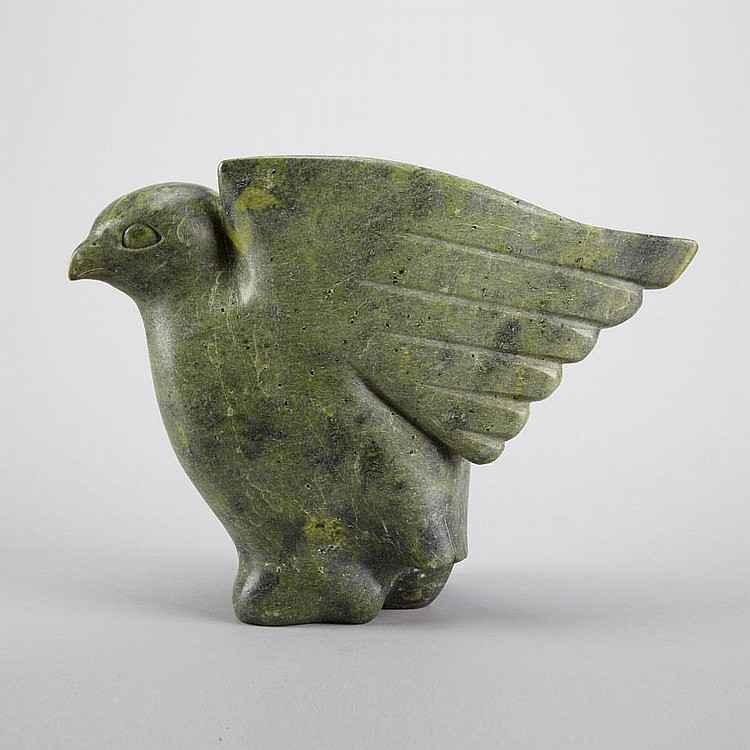 JOANASSIE IGIU (1923-1981), E7-981, Cape DorsetBIRD WITH SWEPT BACK WINGS, stone, c. 1968, signed in syllabics, disc number inscribed, 10