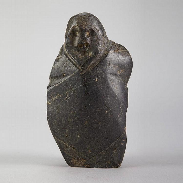 JOHN KAVIK (1897-1993), E2-290, Rankin InletWOMAN IN AMAUTIK, stone, c. 1970, signed in syllabics, disc number inscribed, 8.25