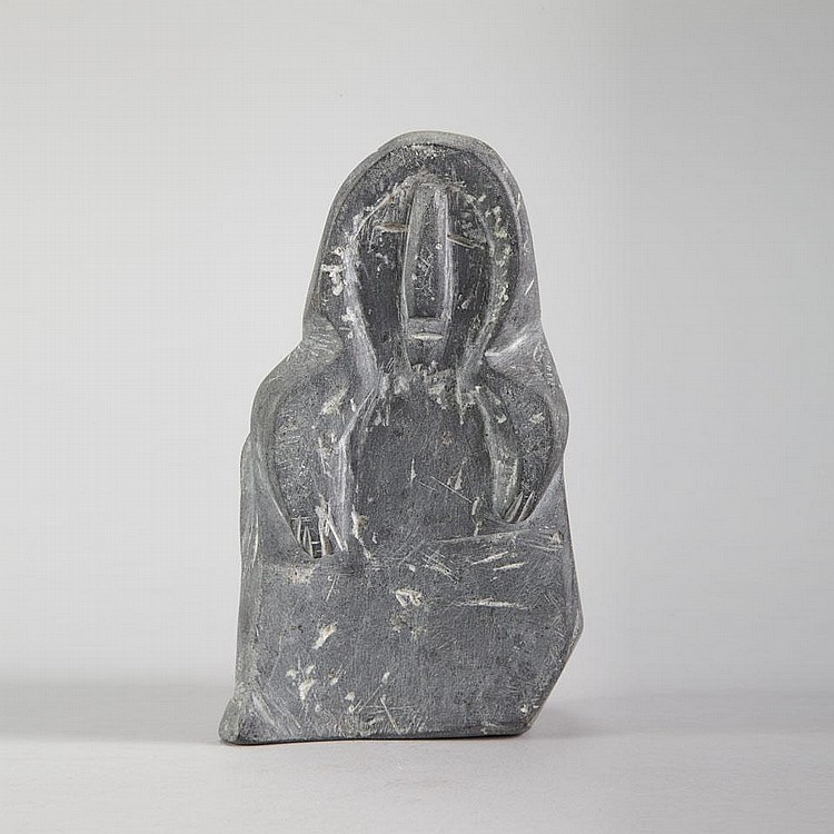 ELIZABETH NUTARALUK AULATJUT (1914-2002), E1-445, ArviatMOTHER AND CHILDREN, stone, 9.5