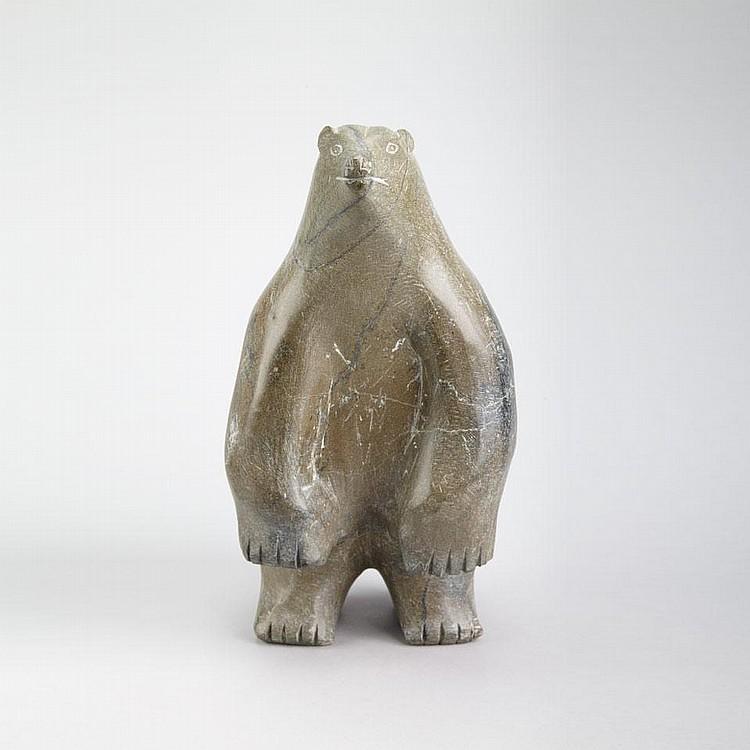 SAKIASSIE RAGEE (1924-), E7-1195, Cape DorsetUPRIGHT POLAR BEAR, stone, c. 1968, signed in syllabics, 13