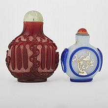 Two Overlay Peking Glass Snuff Bottles, tallest height 3.3