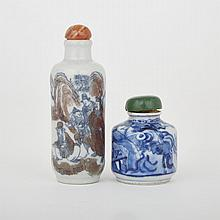 Two Porcelain Figural Snuff Bottles, 19th Century, tallest height 3.1