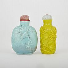 Two Snuff Bottles, Consisting of Imitation Turquoise and Yellow Peking Glass, tallest height 2.8