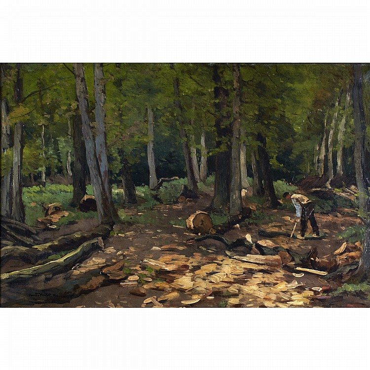 HORATIO WALKER, R.C.A.ROOTING TREES, oil on canvas; signed and dated 1893 17.75 ins x 27 ins; 44.4 cms x 67.5 cms  Provenance: Private Collection, Montreal.