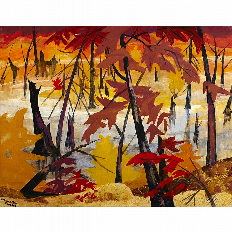YVONNE MCKAGUE HOUSSER, O.S.A., R.C.A.SUNSET IN THE SWAMP, oil on board; signed 14 ins x 18 ins; 35 cms x 45 cms