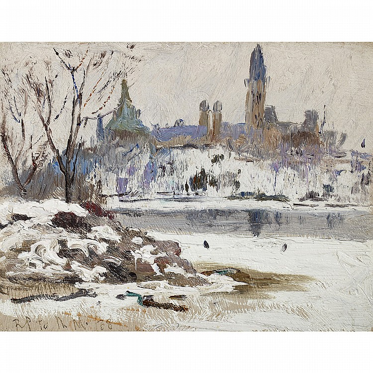 ROBERT WAKEHAM PILOT, P.R.C.A.PARLIAMENT BUILDINGS, OTTAWA, oil on panel; signed and dated '38 7.25 ins x 9.5 ins; 18.1 cms x 23.8 cms  Provenance: Continental Galleries of Fine Art, Montreal.Masters Gallery Ltd., Calgary.