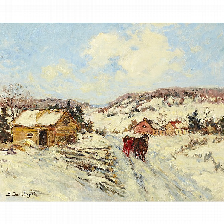 BERTHE DES CLAYESHORSE AND SLEIGH ON WINTER ROAD, oil on canvas; signed 16 ins x 20 ins; 40 cms x 50 cms Provenance: Watson Art Galleries, Montreal.Private Collection, Montreal.