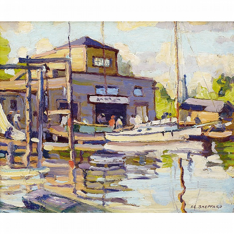 PETER CLAPHAM SHEPPARD, O.S.A., R.C.A.PORT CREDIT, 1930S, oil on board; signed 8.5 ins x 10.5 ins; 21.3 cms x 26.3 cms