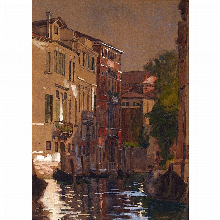 WILLIAM BRYMNER, O.S.A., P.R.C.A.VENETIAN CANAL, gouache and watercolour; signed 13 ins x 9.5 ins; 32.5 cms x 23.8 cms