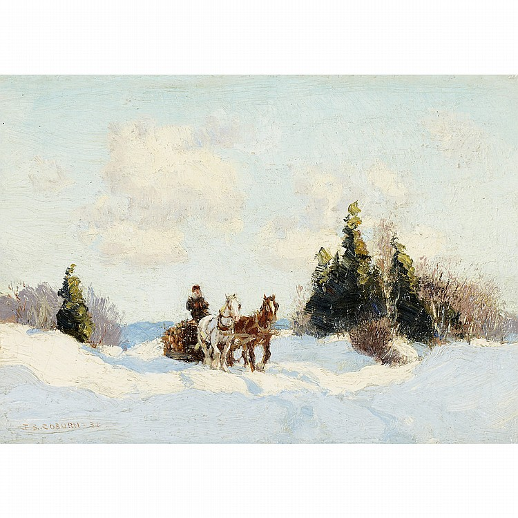 FREDERICK SIMPSON COBURN, R.C.A.TRANSPORT DU BOIS, oil on canvas board; signed and dated '31 6.5 ins x 8.75 ins; 16.3 cms x 21.9 cms  Provenance: Galerie L'Art francais Ltee, Montreal.Private Collection, Vancouver.