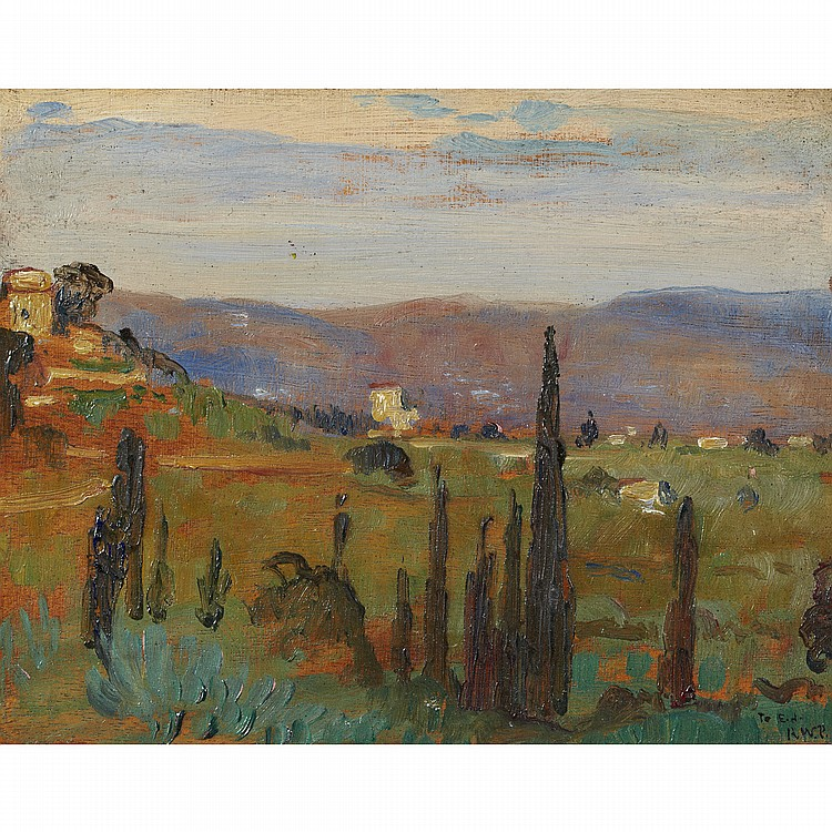 ROBERT WAKEHAM PILOT, P.R.C.A.LANDSCAPE NEAR ASSISI, oil on panel; signed with initials, dated '22 and inscribed