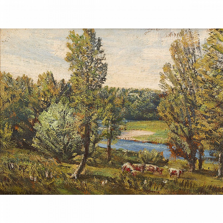HOMER RANSFORD WATSON, O.S.A., P.R.C.A.CATTLE GRAZING ON THE GRAND, oil on canvas; signed 13.25 ins x 17 ins; 33.1 cms x 42.5 cms  Exhibited: Simplicity of Life and Brush, Homer Watson House & Gallery, Kitchener, June 9 - August 18, 2002.