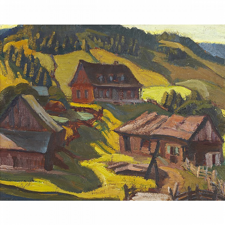 YVONNE MCKAGUE HOUSSER, O.S.A., R.C.A.AN ABANDONED FARM, QUEBEC, 1927, oil on panel; signed on the reverse 8.5 ins x 10.5 ins; 21.3 cms x 26.3 cms Provenance: Estate of Yvonne McKague Housser.Masters Gallery Ltd., Calgary.Private Collection,