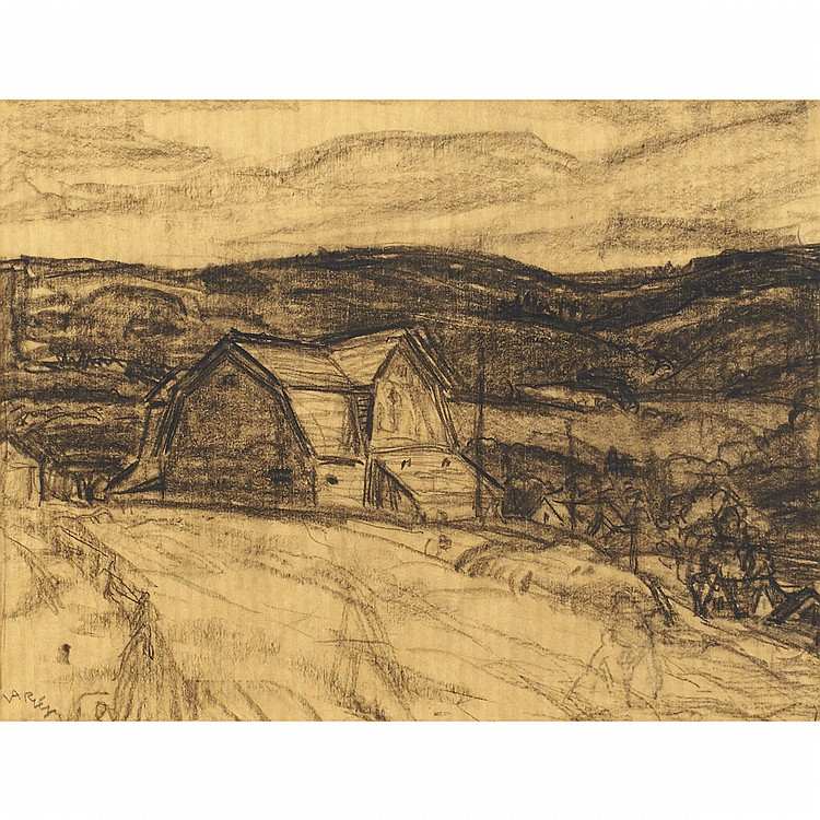 FREDERICK HORSMAN VARLEY, A.R.C.A.BARNS, WHYCOCOMAGH, CAPE BRETON ISLAND, graphite; signed 8 ins x 11 ins; 20 cms x 27.5 cms