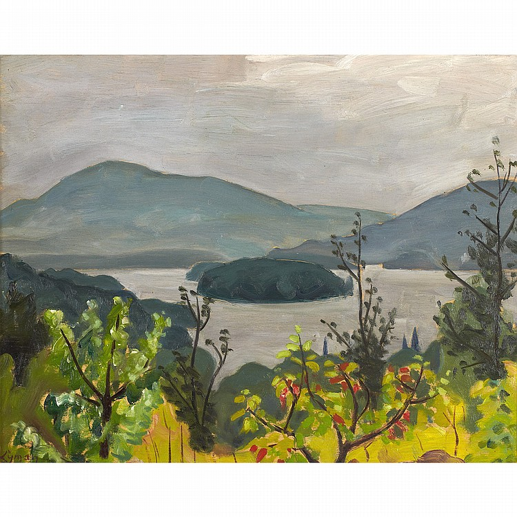 JOHN GOODWIN LYMANLAC OUIMET, MONT TREMBLANT, oil on panel; signed 13 ins x 16 ins; 32.5 cms x 40 cms  Provenance: Dominion Gallery, Montreal.Galerie Walter Klinkhoff Inc., Montreal.Private Collection, Toronto.