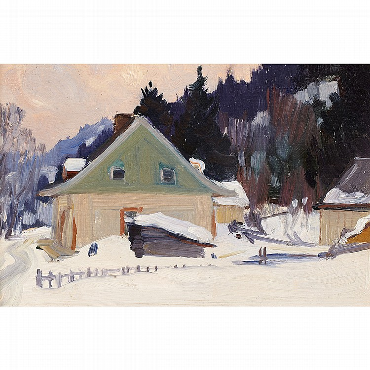 CLARENCE ALPHONSE GAGNON, R.C.A.LA MAISON AU PIQUE VERT, oil on panel; certified by Lucile Rodier Gagnon (No.230) on the reverse 4.75 ins x 7 ins; 11.9 cms x 17.5 cms Provenance: Laing Fine Art Galleries, Toronto.Private Collection, Vancouver.Note:
