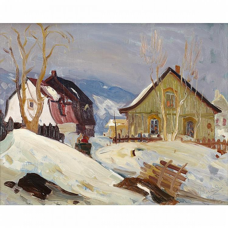 RENE RICHARDRUE DU VILLAGE, BAIE ST. PAUL, oil on board; signed 16 ins x 20 ins; 40 cms x 50 cms Provenance: Galerie L'Art francais, Montreal.Private Collection, Florida.