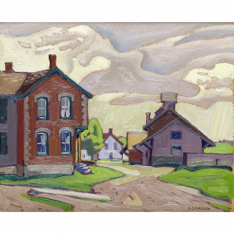 ALFRED JOSEPH CASSON, O.S.A., P.R.C.A.THE RAILWAY STATION IN UXBRIDGE, 1926, oil on board; signed 9.25 ins x 11.25 ins; 23.1 cms x 28.1 cms