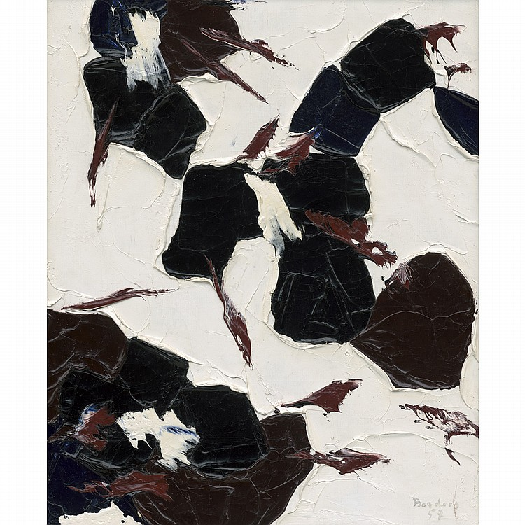 PAUL-EMILE BORDUAS,CHATTERIE, oil on canvas; signed and dated '57, inventory no.12F printed on a label on the reverse 24 ins x 20 ins; 60 cms x 50 cms Provenance: Martha Jackson Gallery, New York.Blair Laing Gallery, Toronto.Private